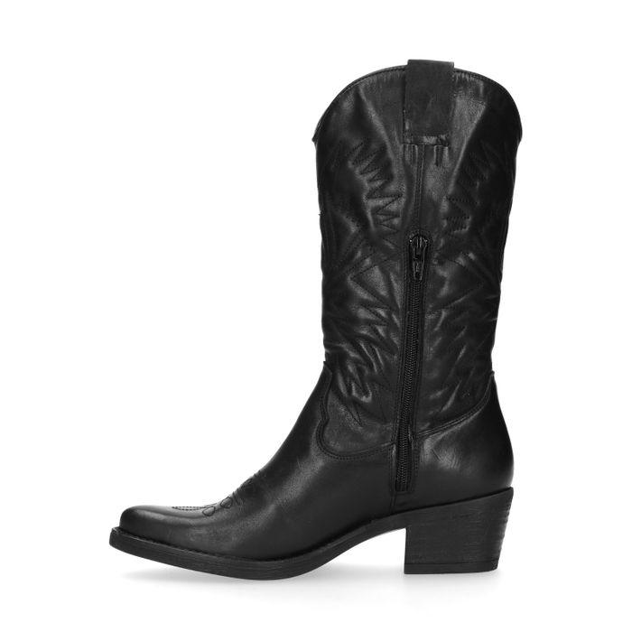 Santiags en cuir avec surpiqûres décoratives - noir
