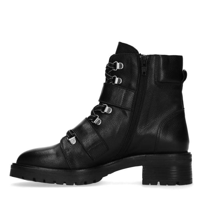 Bottines cuir avec boucles - noir
