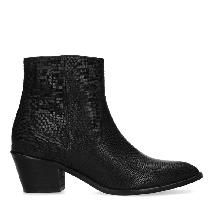 Bottines cuir à talon - noir