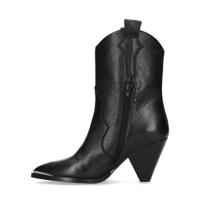 Bottes de cowboy en cuir noir avec talon entonnoir