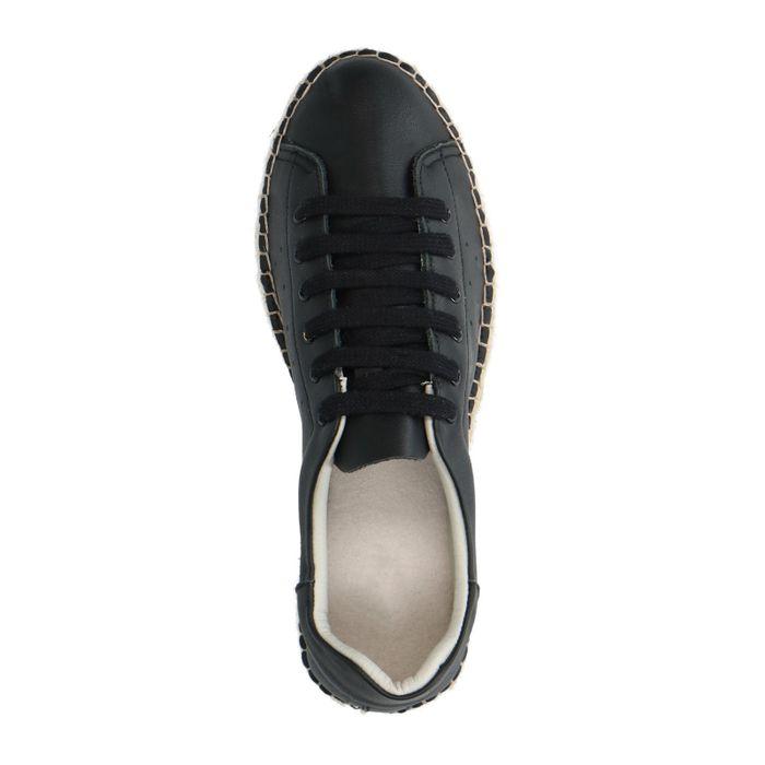Baskets basses en cuir avec semelle plateforme - noir