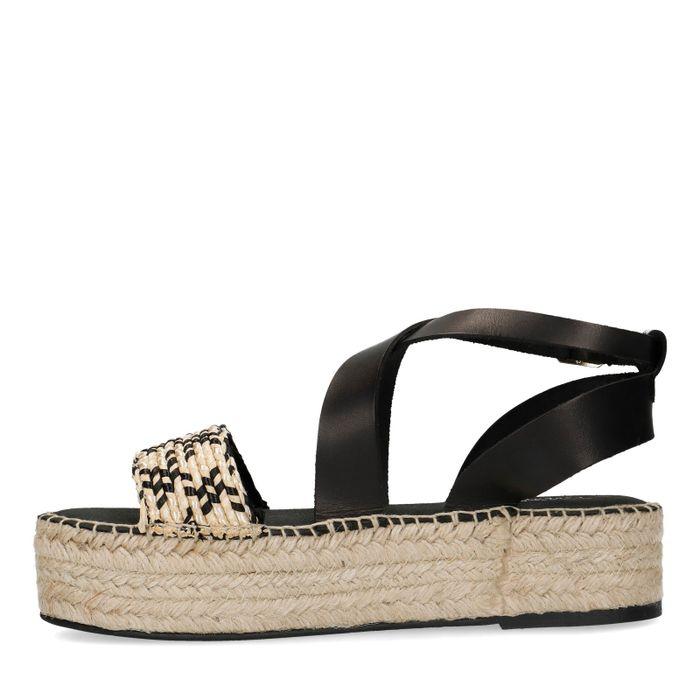 Sandales cuir à plateforme avec corde - noir