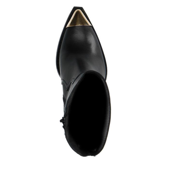Santiags en cuir avec détails métalliques - noir