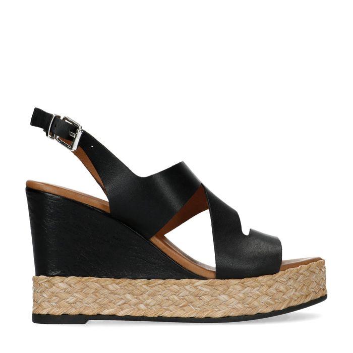 Sandales en cuir avec talon compensé - noir