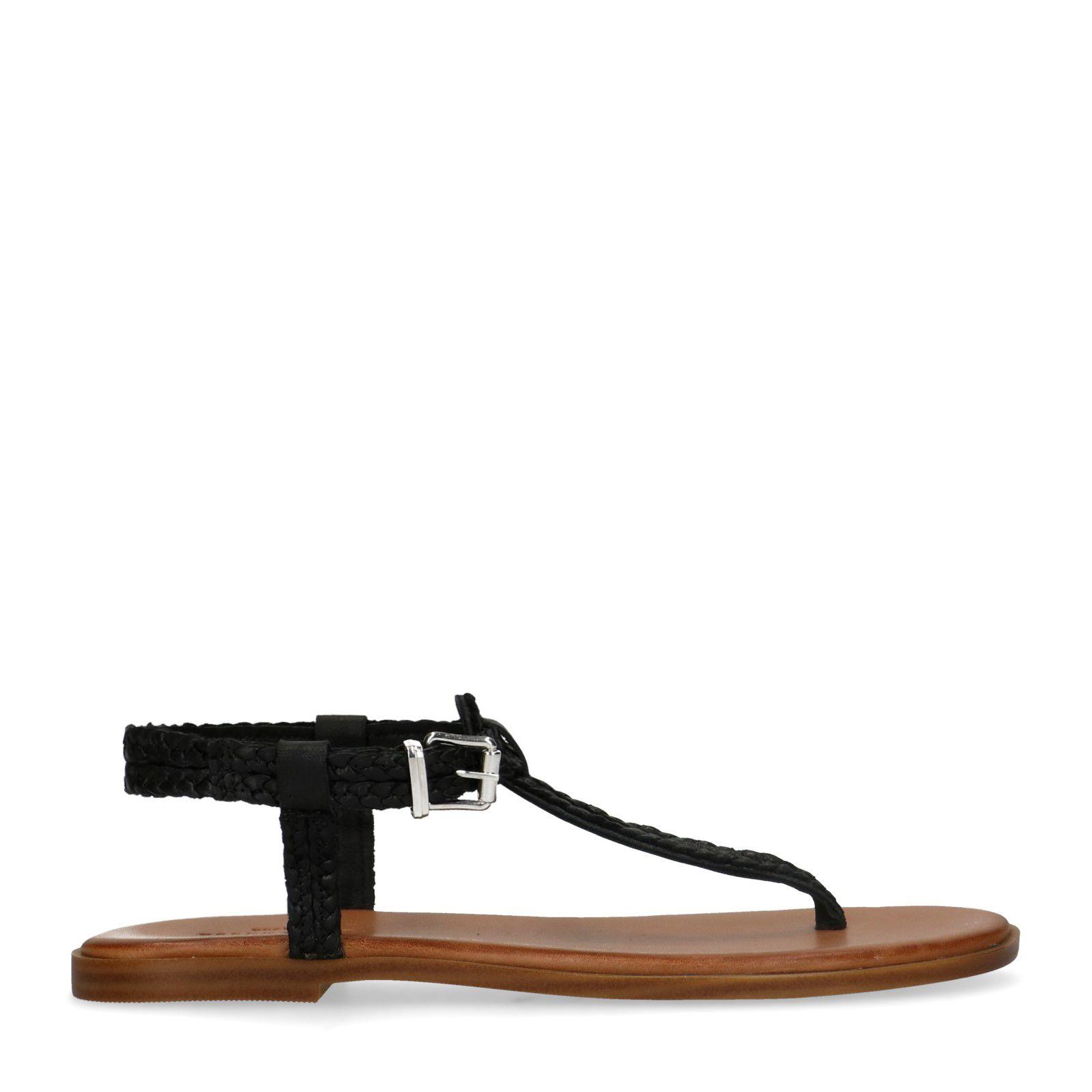 Sandales tressées à lacets Femme en cuir noir   Jonak