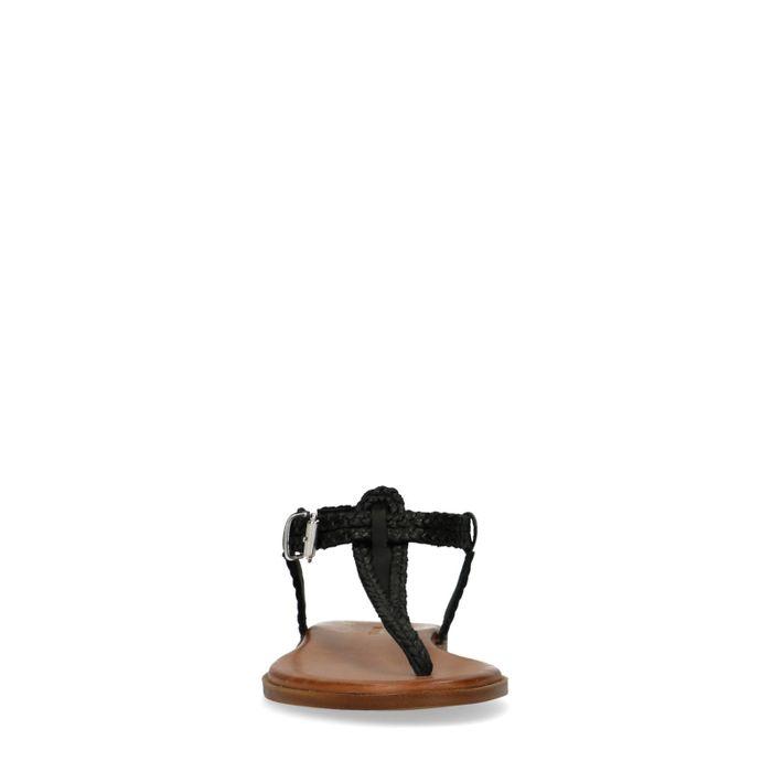 Sandales tressées en cuir - noir