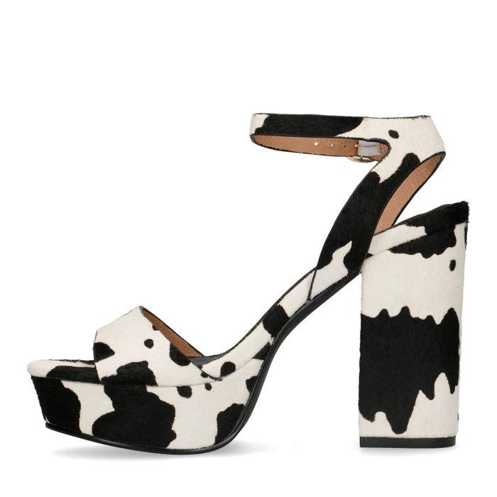 Sandales cuir avec imprimé vache et talon