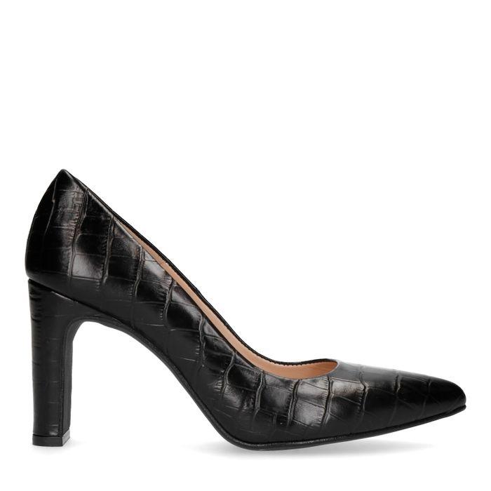 Escarpins en cuir croco - noir