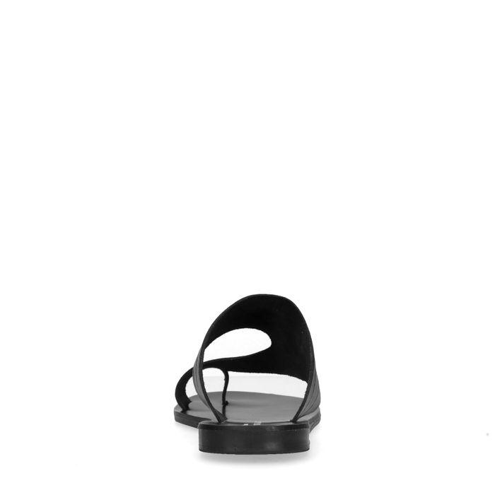 Claquettes synthétique avec imprimé croco - noir