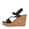 Sandales cuir à talon compensé - noir