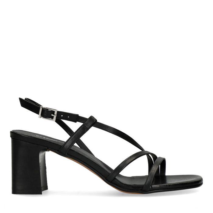 Sandales cuir à talon - noir