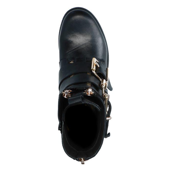 Bottines motardes en cuir avec boucles dorées - noir