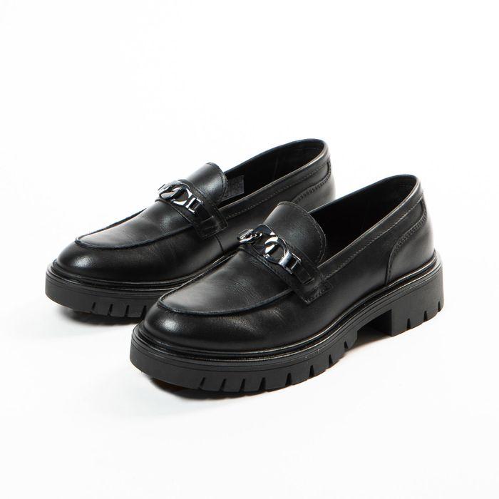 Loafers en cuir avec semelle plateforme - noir