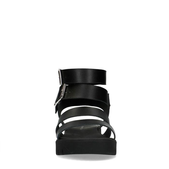 Sandales en cuir avec deux boucles - noir