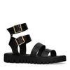 Sandales à plateforme avec cuir imprimé croco - noir
