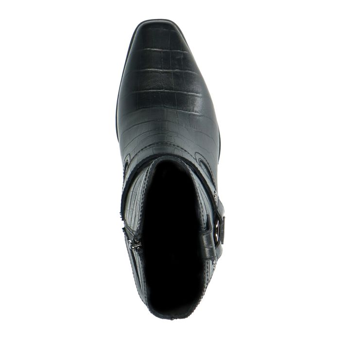 Santiags en cuir avec imprimé croco - noir