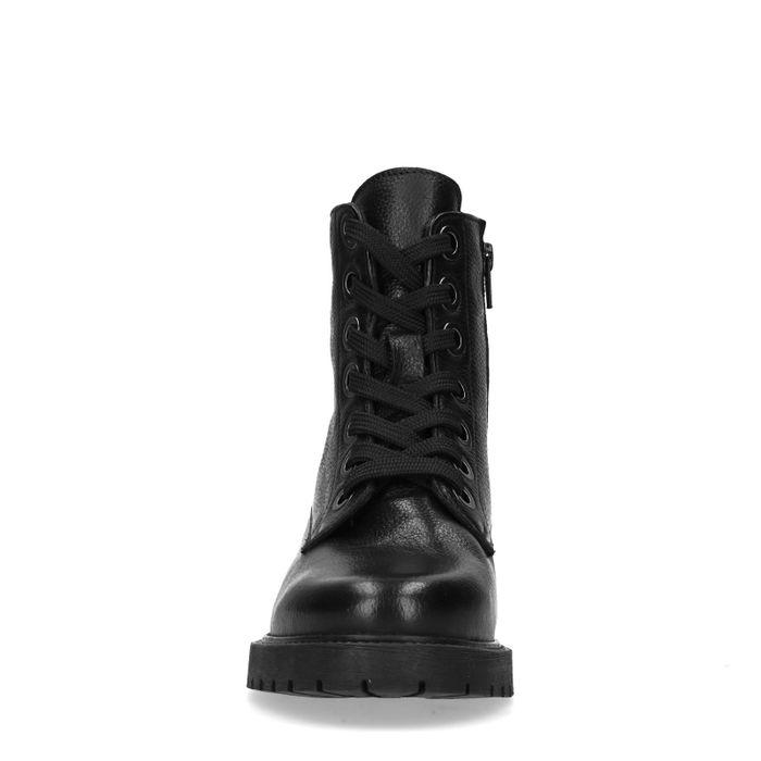 Bottines motardes en cuir - noir