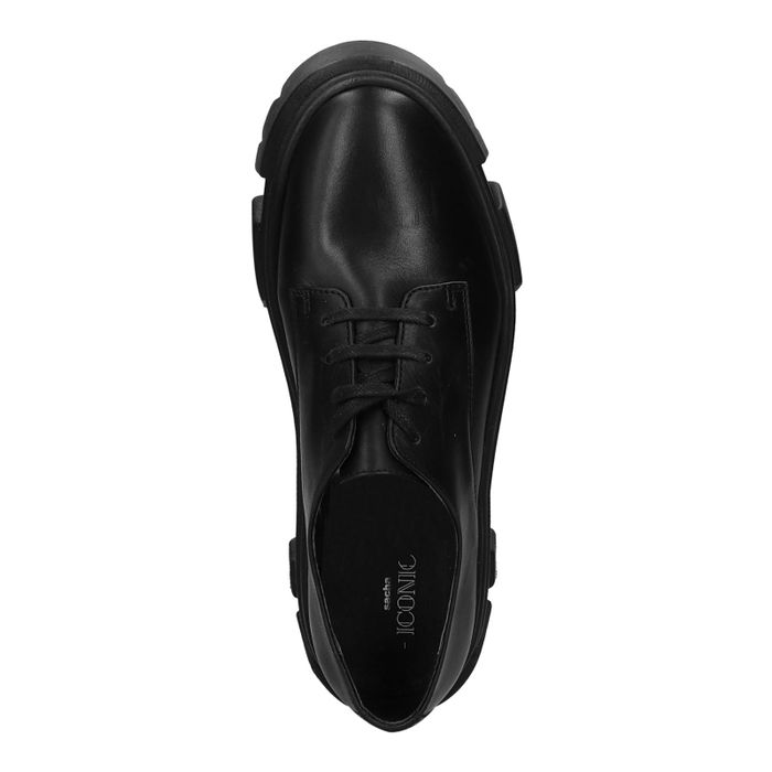Chaussures à lacets en cuir avec semelle plateforme - noir