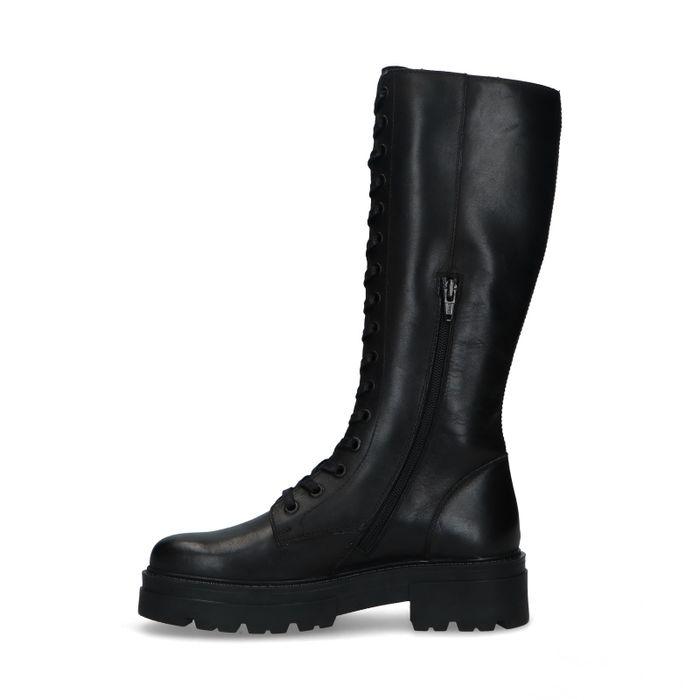 Bottes à lacets hautes en cuir - noir