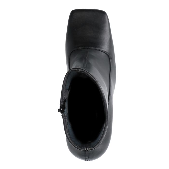 Bottines en cuir avec bout carré - noir