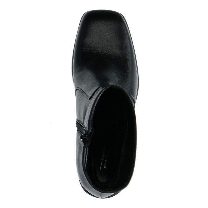 Bottines compensées en cuir - noir