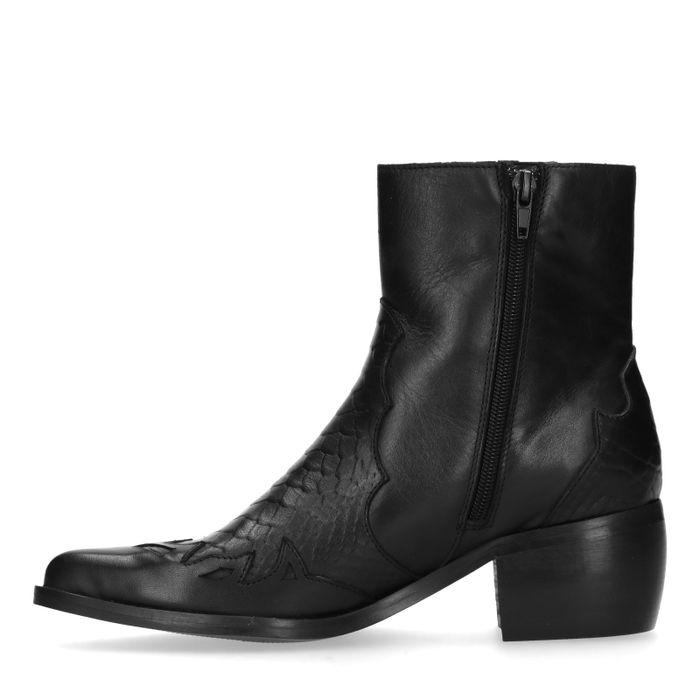 Santiags en cuir avec détails - noir