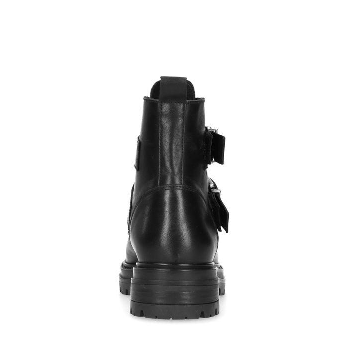 Bottines motardes en cuir avec fermeture éclair et boucles - noir