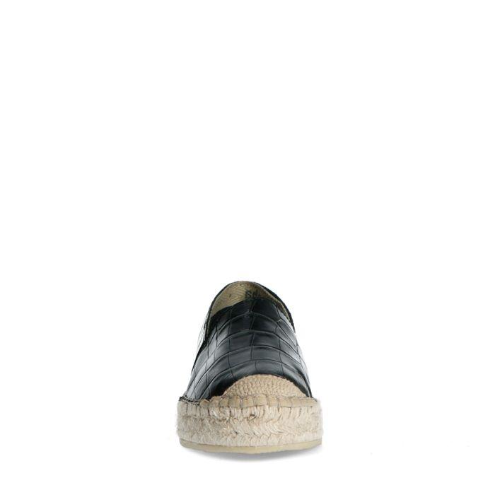 Espadrilles en cuir avec imprimé croco - noir