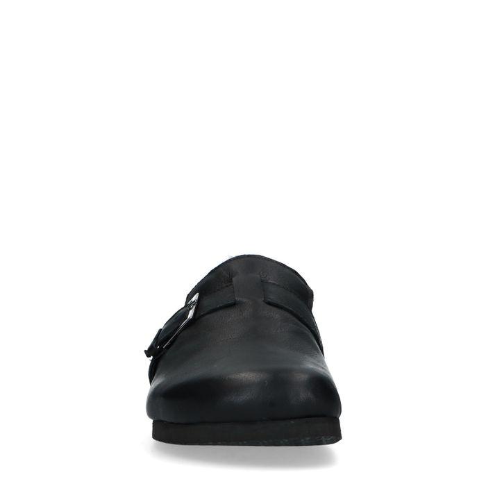Chaussons en cuir avec boucle - noir