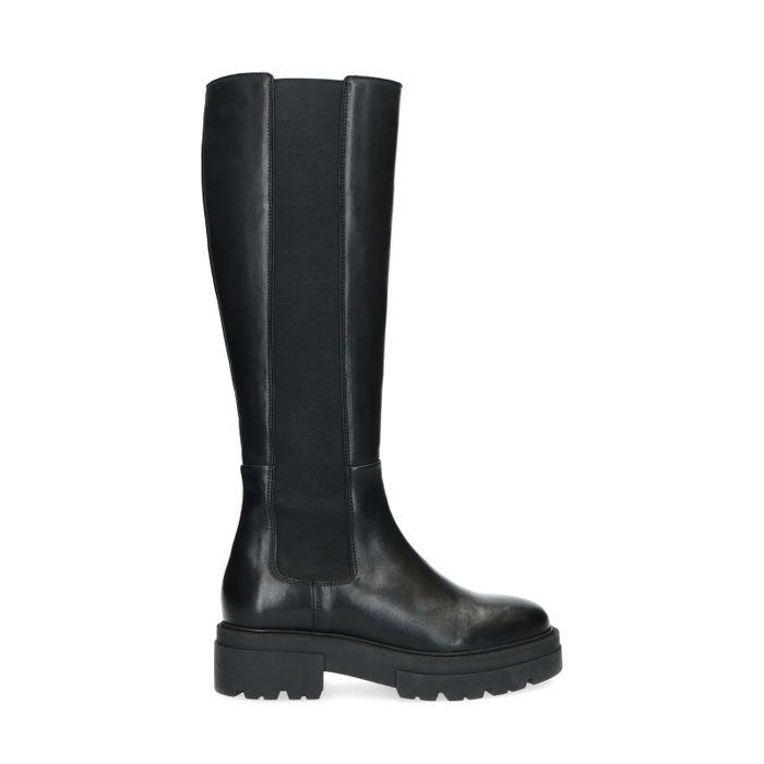 Chelsea boots hautes en cuir - noir