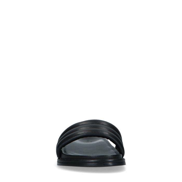 Claquettes en cuir avec bande large - noir