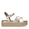 Sandales en cuir avec semelle plateforme tressée - doré