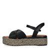 Sandales en cuir avec semelle plateforme tressée - noir