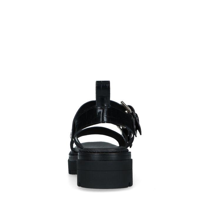 Sandales cuir à plateforme avec imprimé croco - noir