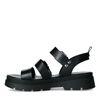 Sandales en cuir avec boucles argentées - noir