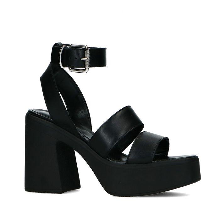 Sandales en cuir avec talon et semelle plateforme - noir