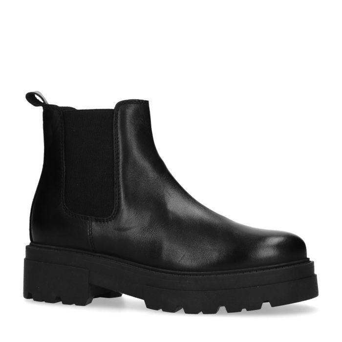 Chelsea boots courtes en cuir - noir