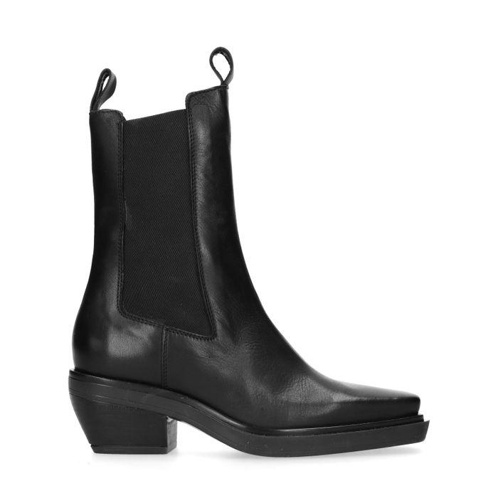 Chelsea boots en cuir avec bout carré - noir