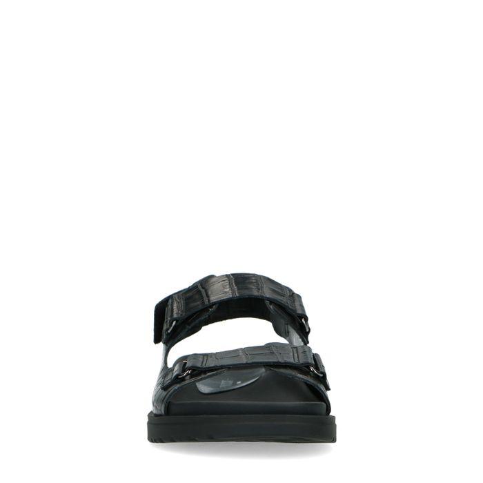 Sandales cuir avec imprimé croco - noir