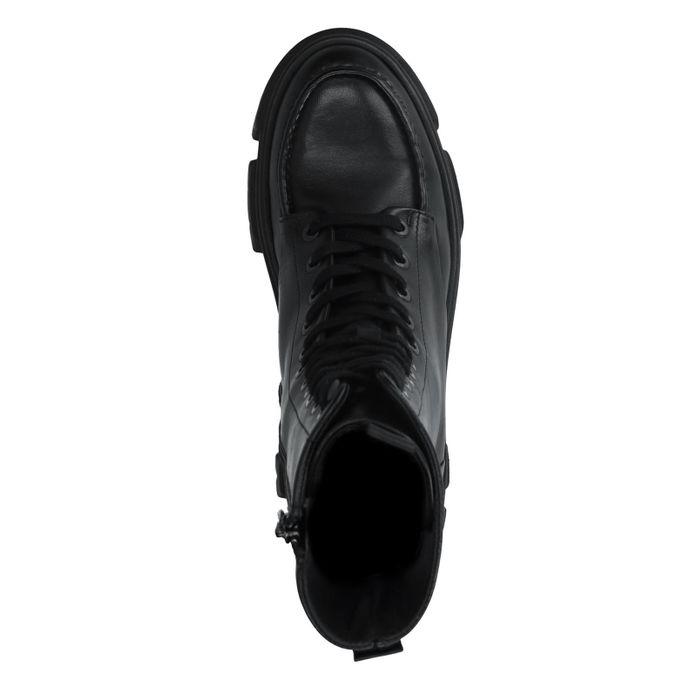 Bottes à lacets en cuir avec semelle plateforme - noir