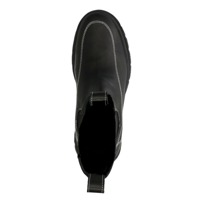 Chelsea boots en cuir avec surpiqûres - noir