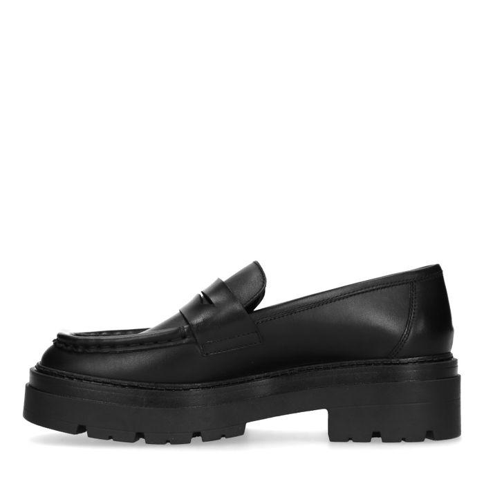 Loafers chunky en cuir - noir