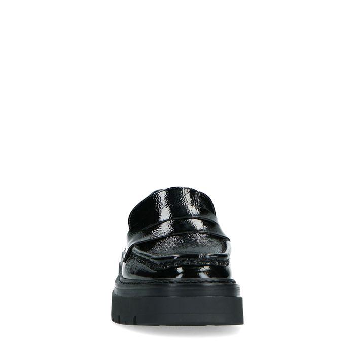 Loafers en cuir verni avec semelle plateforme - noir