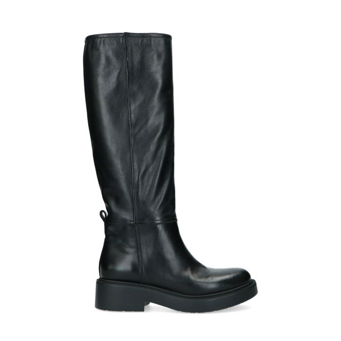 Bottes hautes en cuir - noir
