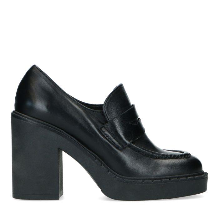 Loafers cuir à talon - noir