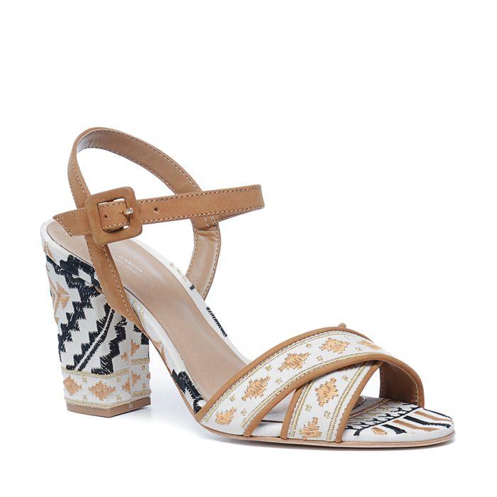 Sandales à talon avec imprimé - marron clair