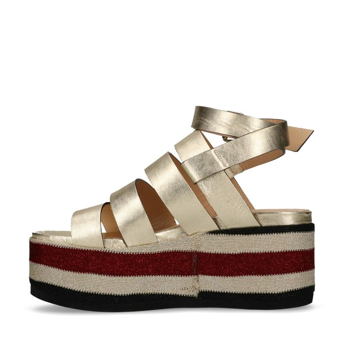 Sandales cuir à plateforme métallisées  - doré