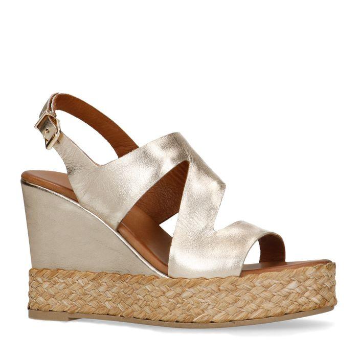 Chaussures à talon compensé en cuir avec corde - doré