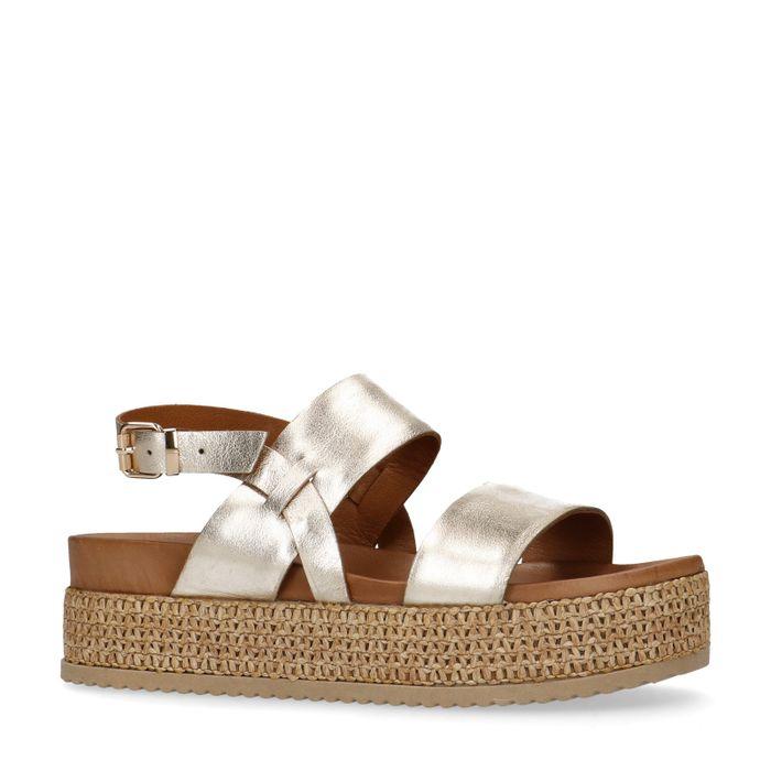 Sandales cuir à plateforme - doré