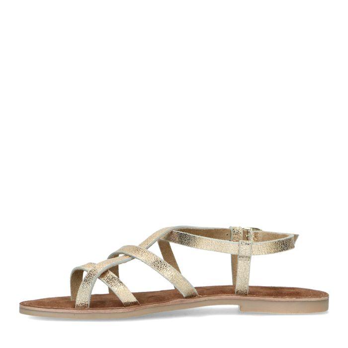 Sandales plates en cuir - doré